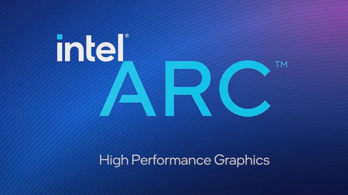Intel Arc High Performance Graphics logo on blue-to-purple gradient background
