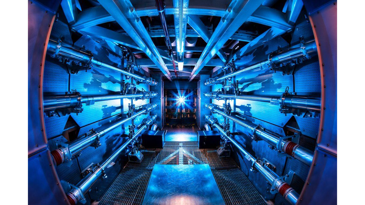 A preamplifer chamber that increases the power of laser beams before they collide.