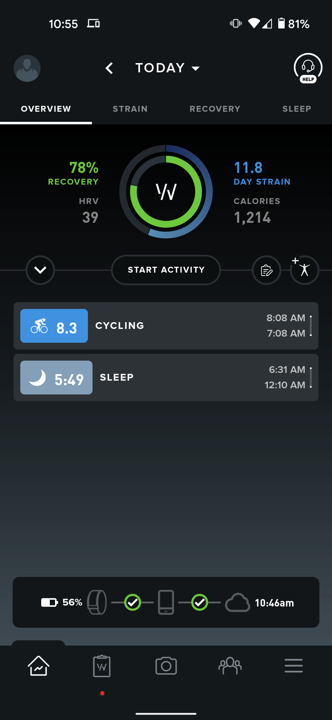 Whoop's main screen, showing a workout, day strain, and sleep
