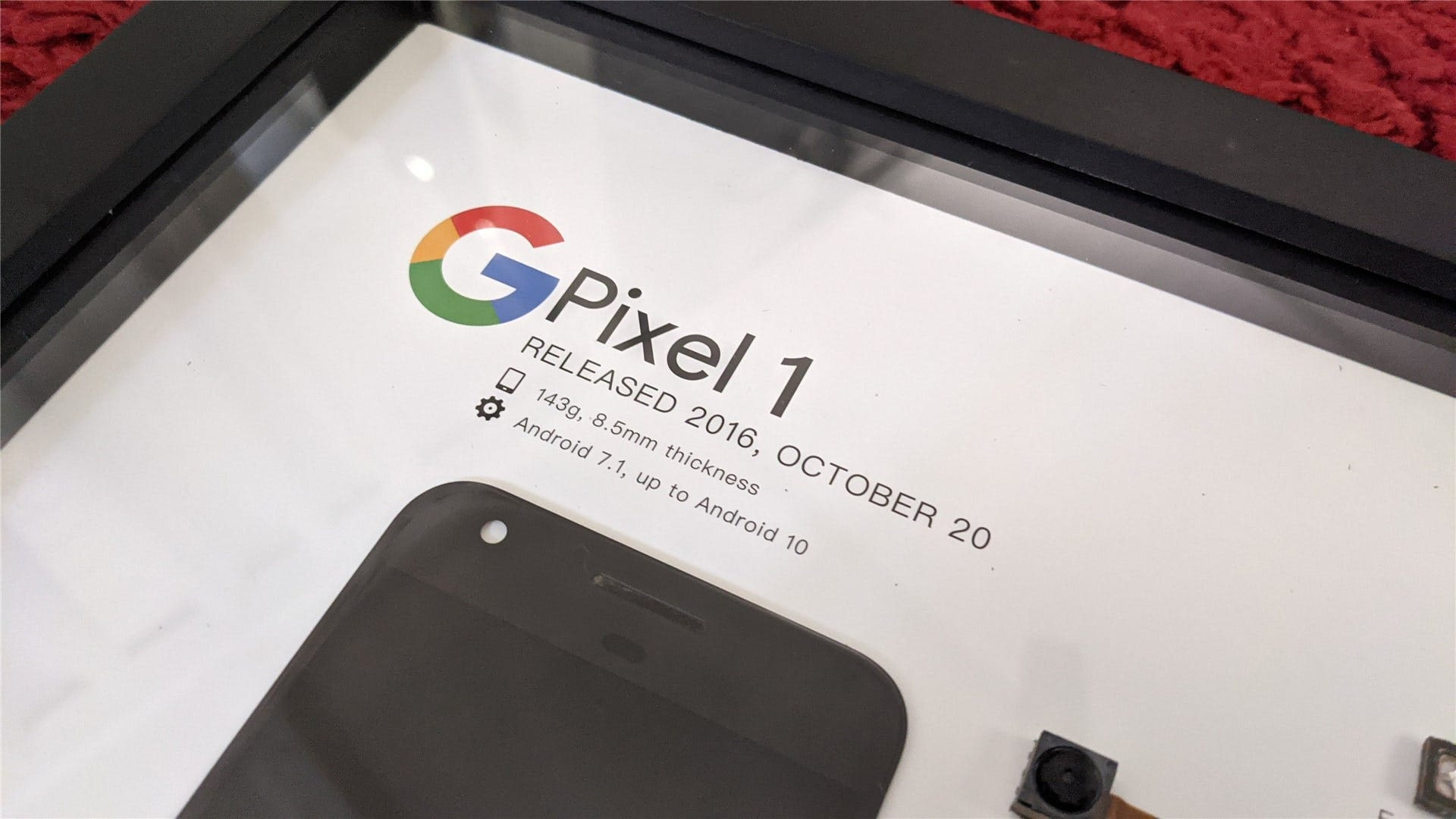 A close up of the Pixel 1 details, including release date and Android versions