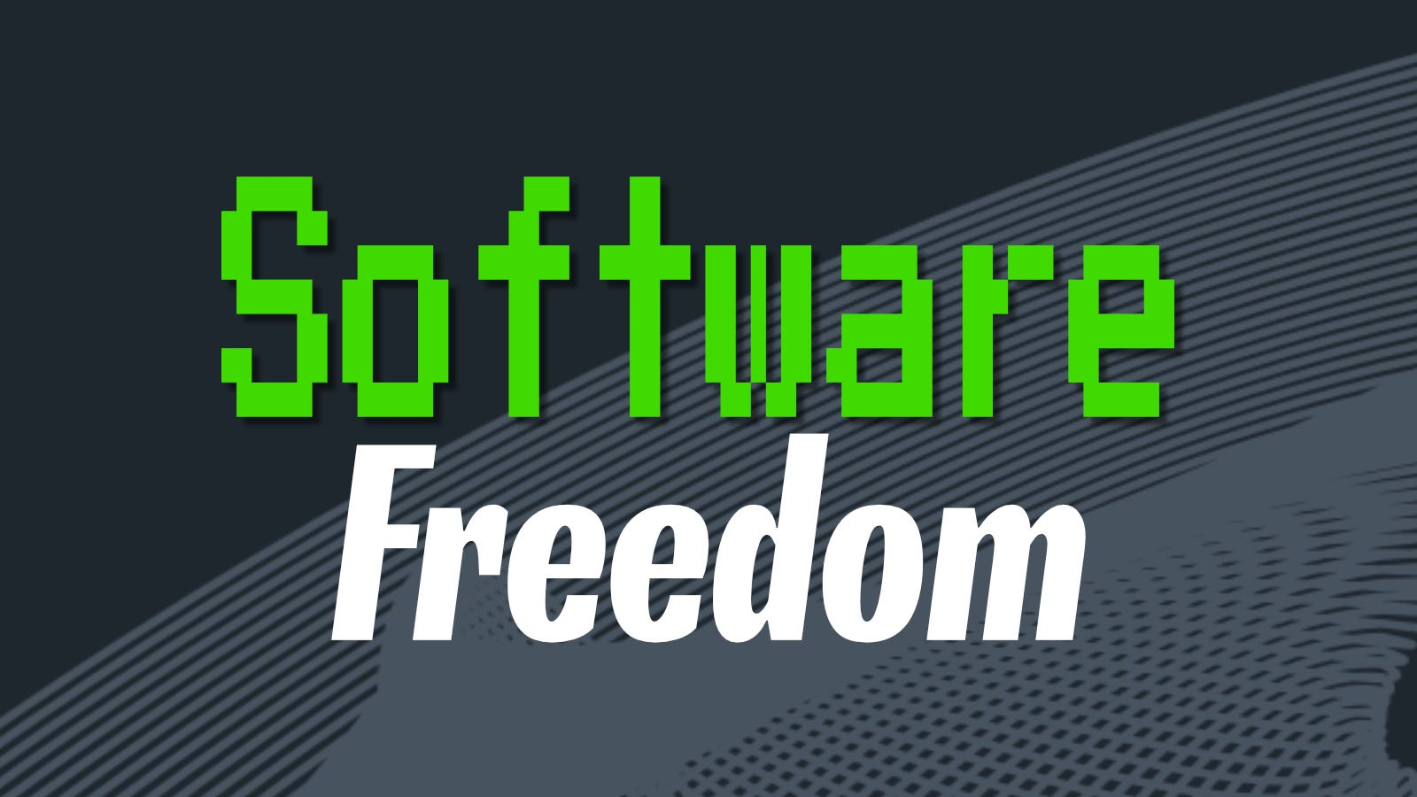 Software Freedom text over gray and blue background