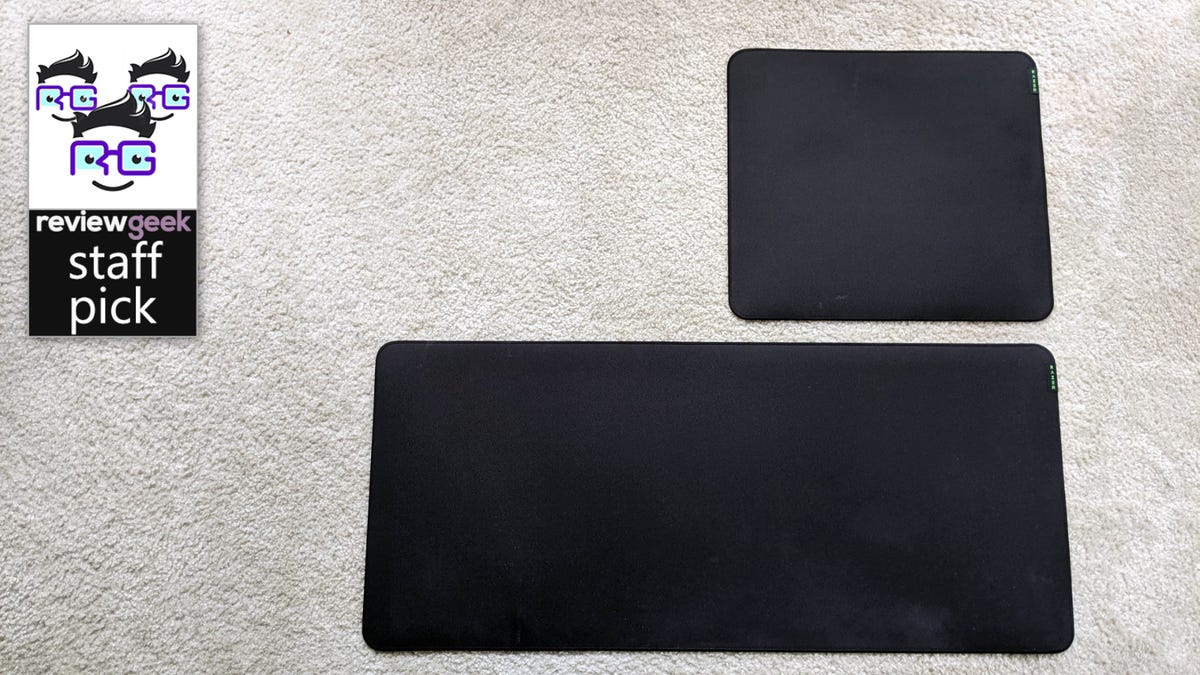 """Razer Strider """"Large"""" and """"XXL"""" Mousepads on carpeted flooring"""