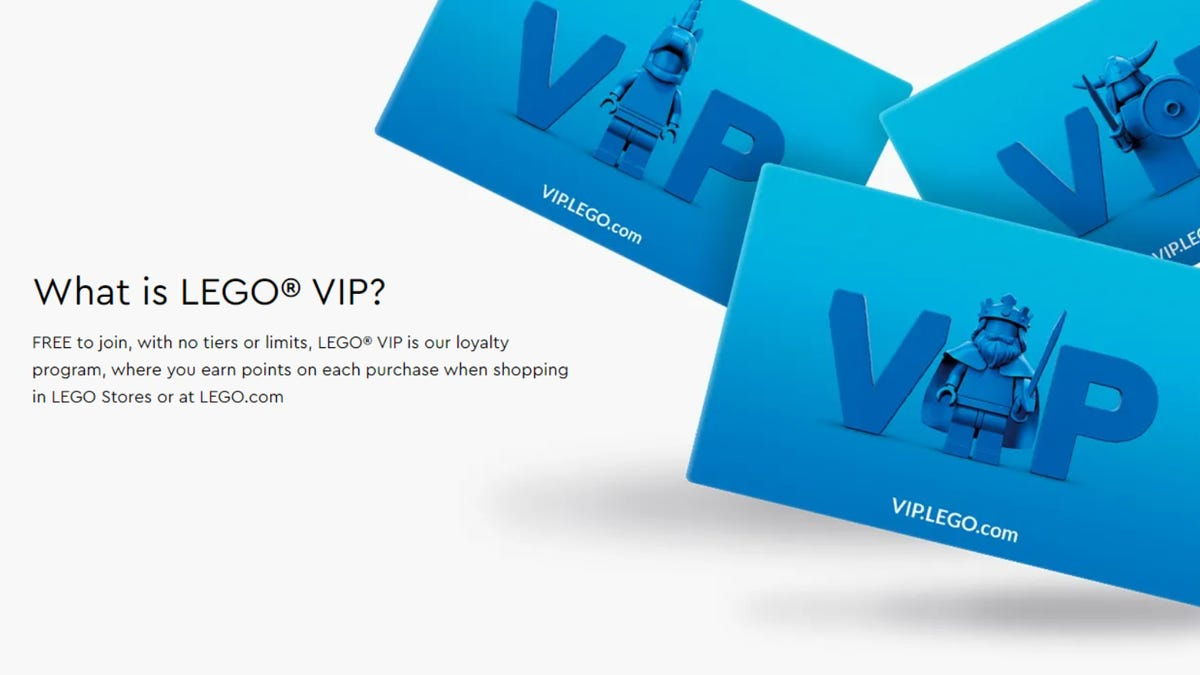 LEGO VIP explainer text with VIP cards next to it