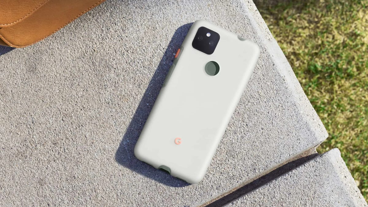 Pixel 5a on concrete in Google's official case