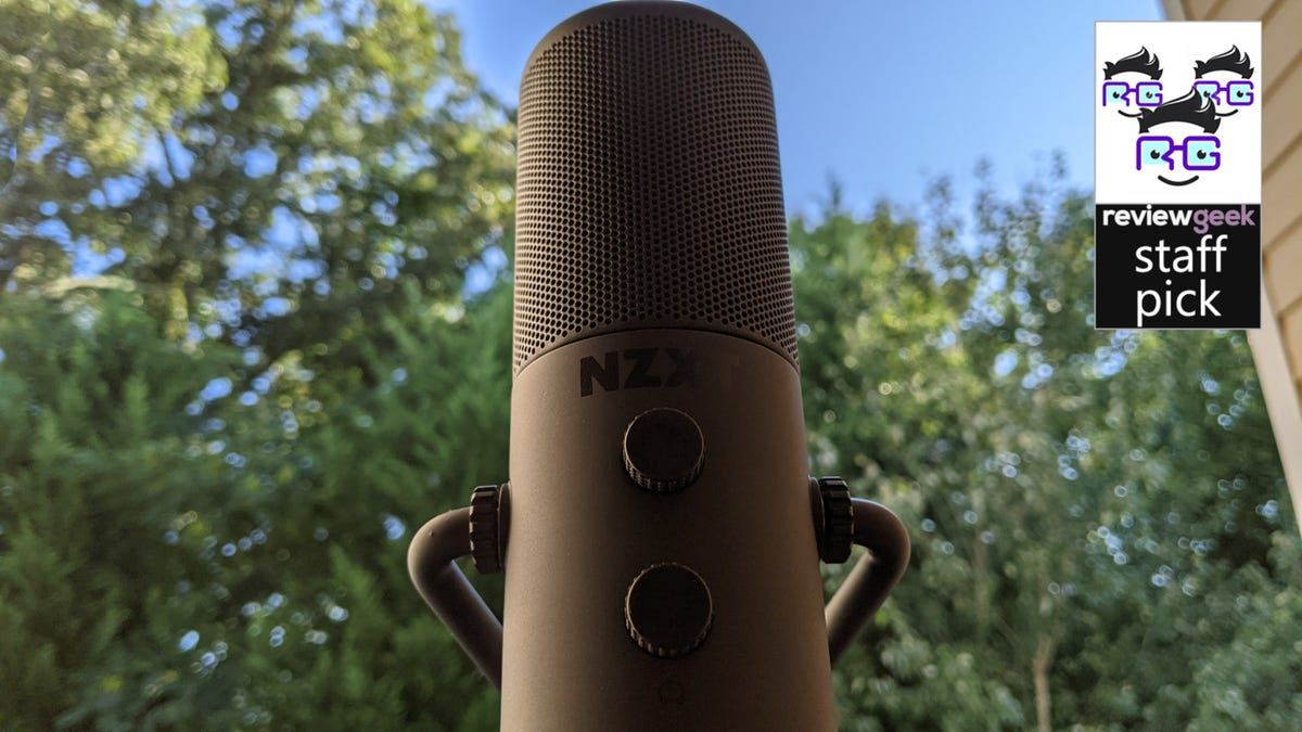 NZXT Capsule microphone against forest backdrop