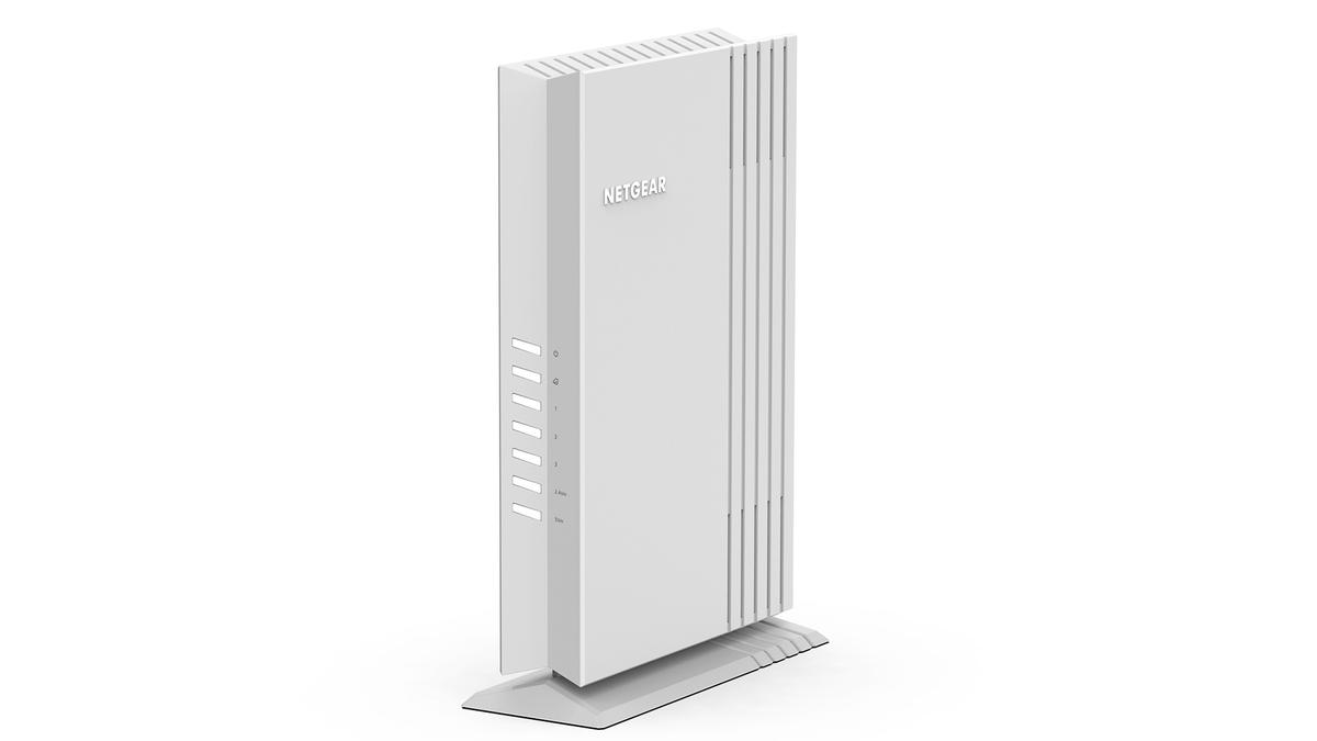 A photo of the Netgear WAX202 Wi-Fi 6 access point.