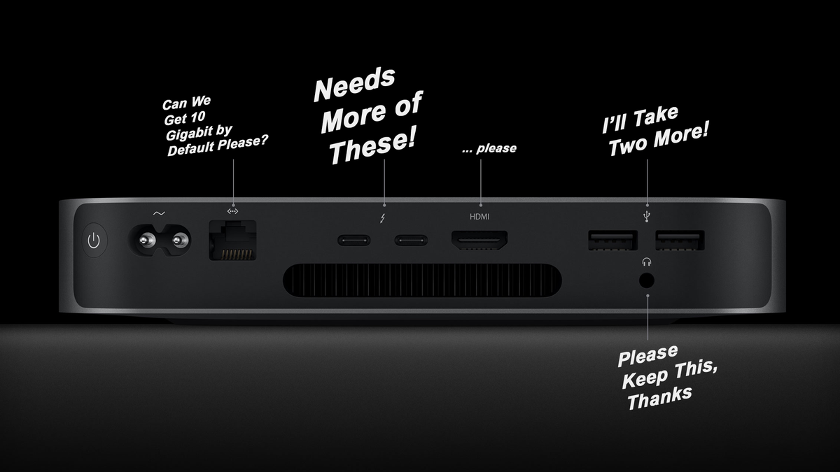 A diagram of the M1 Mac Mini altered to complain about the poor port selection. Needs more Thunderbolt 3 ports, 10 Gigabit Ethernet by default, etc.