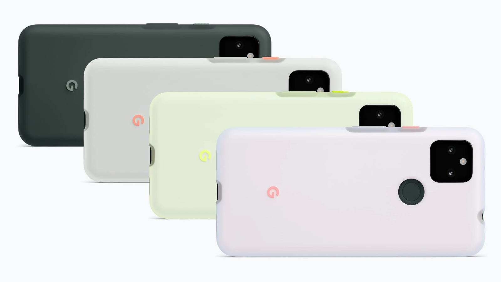 Four Google Pixel 5a's in different official Google cases.