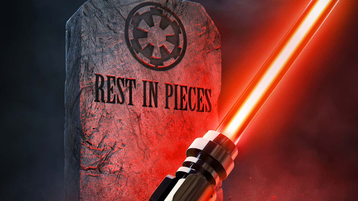 """Red LEGO lightsaber held by hand in front of tombstone that says """"Rest in Pieces"""" below the Imperial crest"""