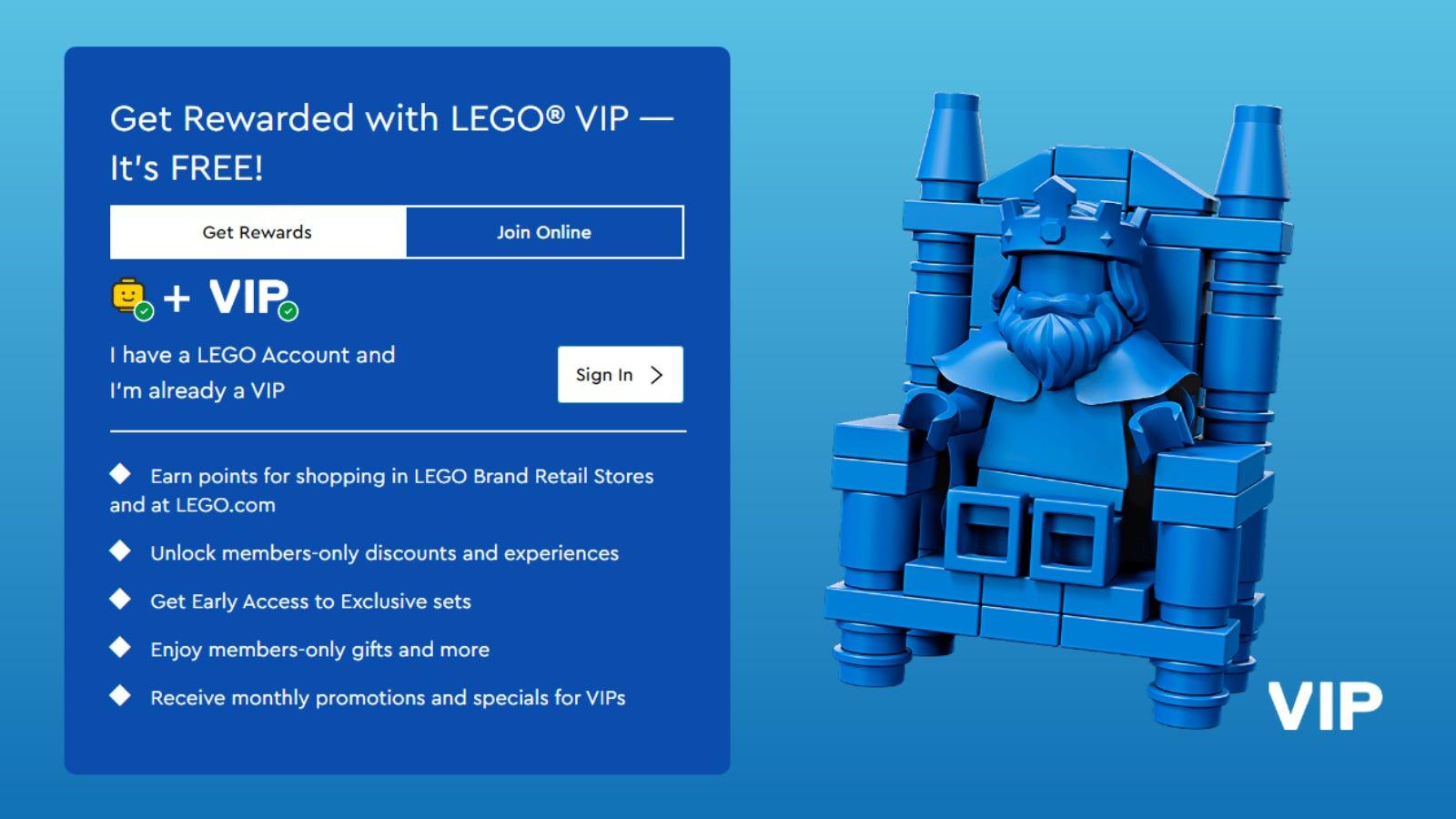 LEGO VIP rewards advertising page