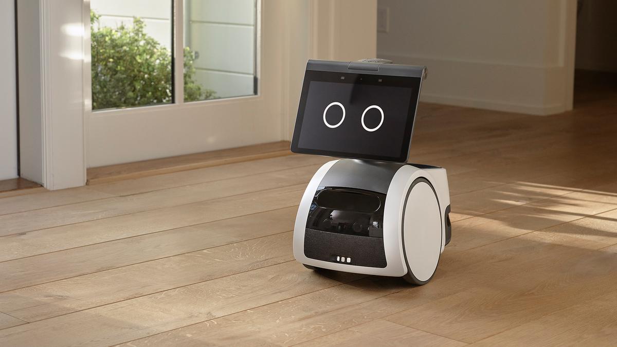Amazon Astro on a hardwood floor.