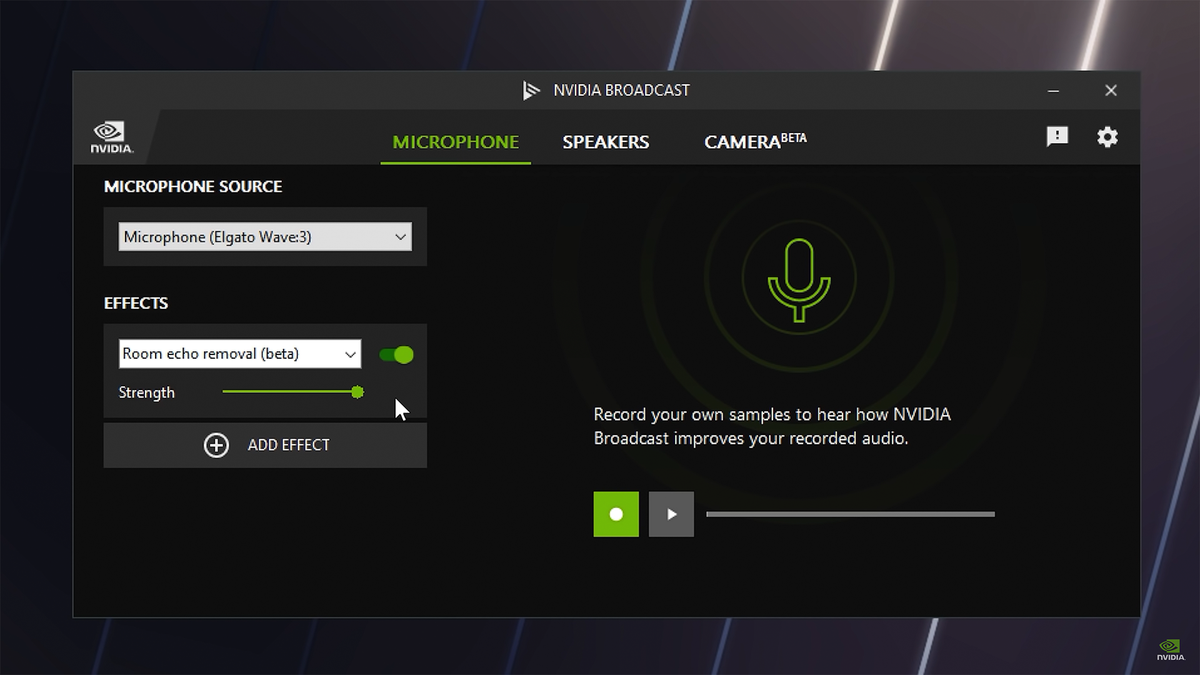 The NVIDIA Broadcast sound-reduction menu.