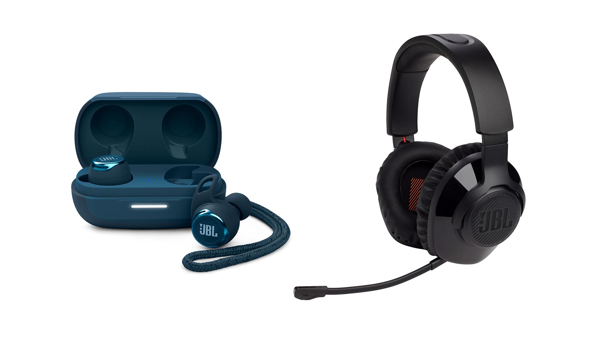 JBL Reflect Flow Pro earbuds and JBL Quantum 350 gaming headphones