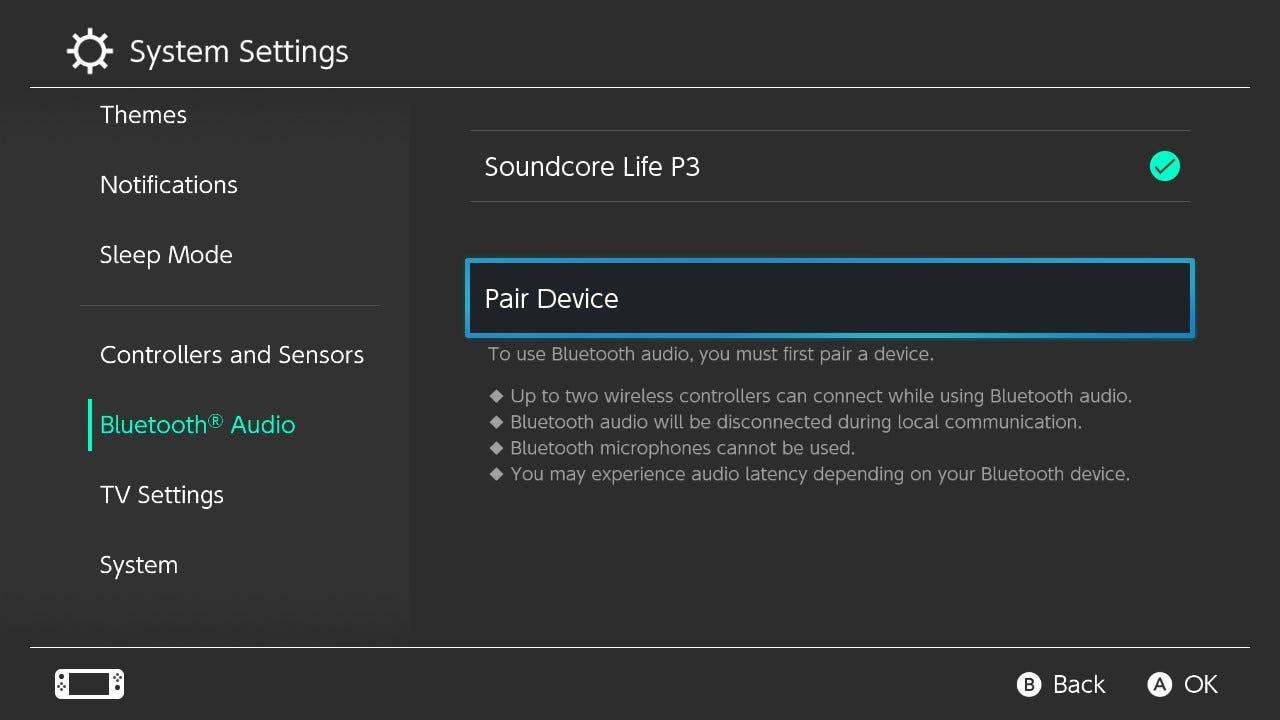 Nintendo Switch Bluetooth Audio settings page.