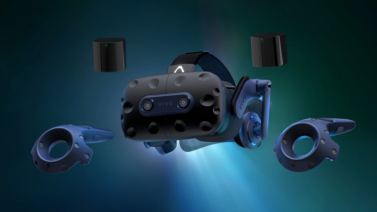 The HTC Vive Pro 2 kit with a headset, two controllers, and two motion tracking monitors.