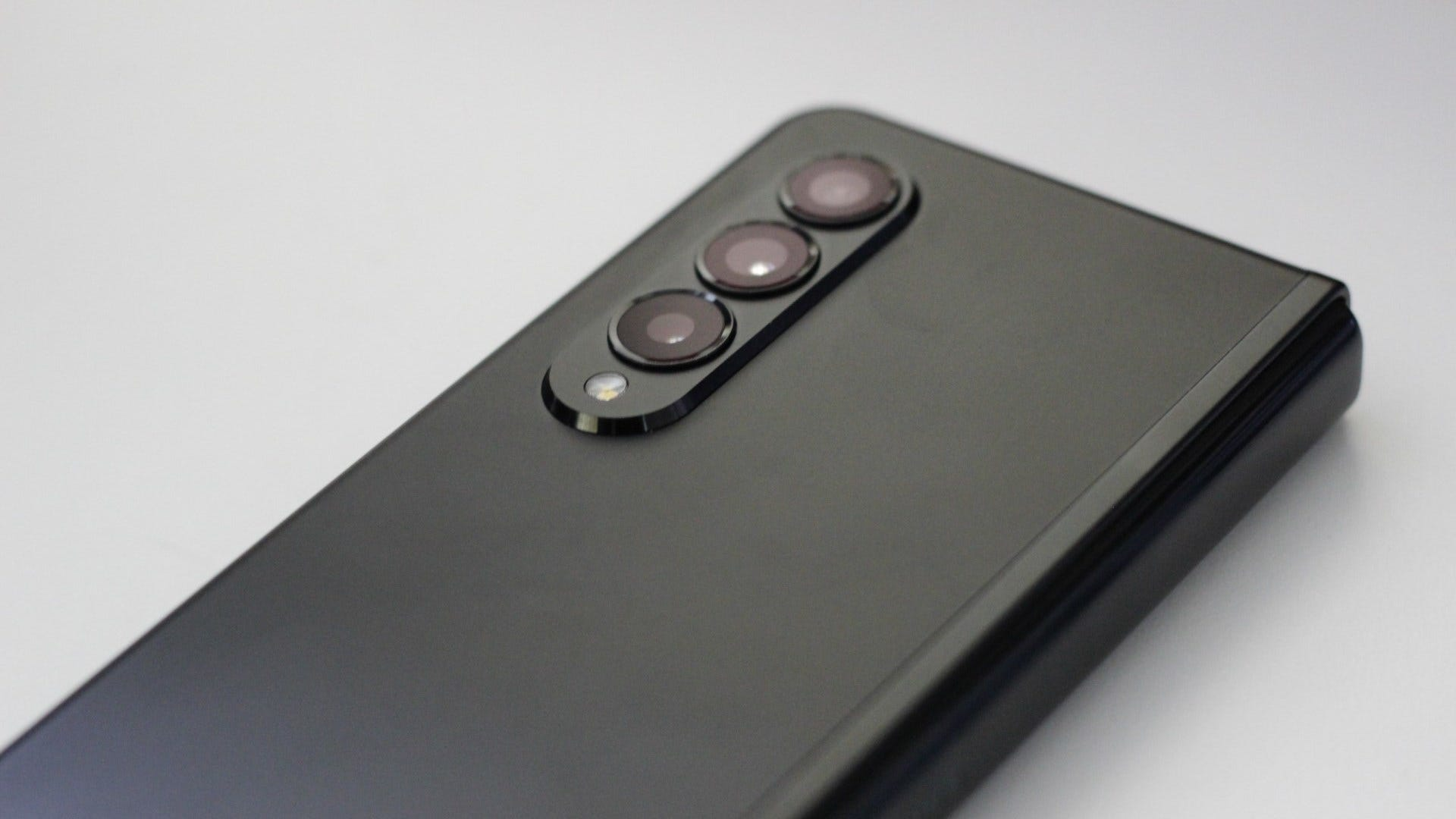 The triple camera array on the back of the Z Fold 3