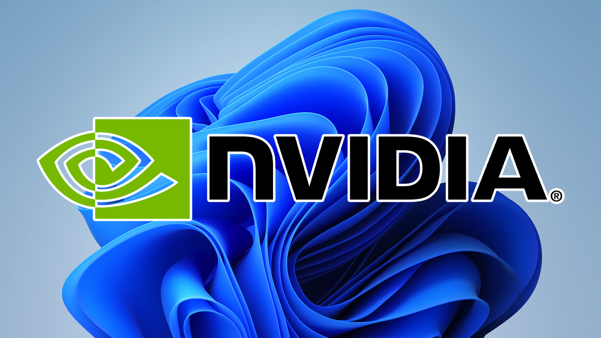 The NVIDIA logo over the default Windows 11 background.