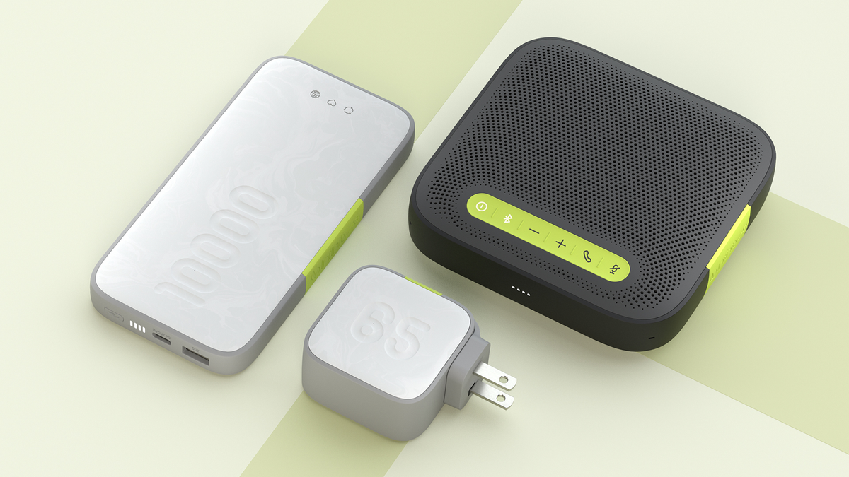 The InfinityLab GaN charger, portable power bank, and wireless speakerphone.