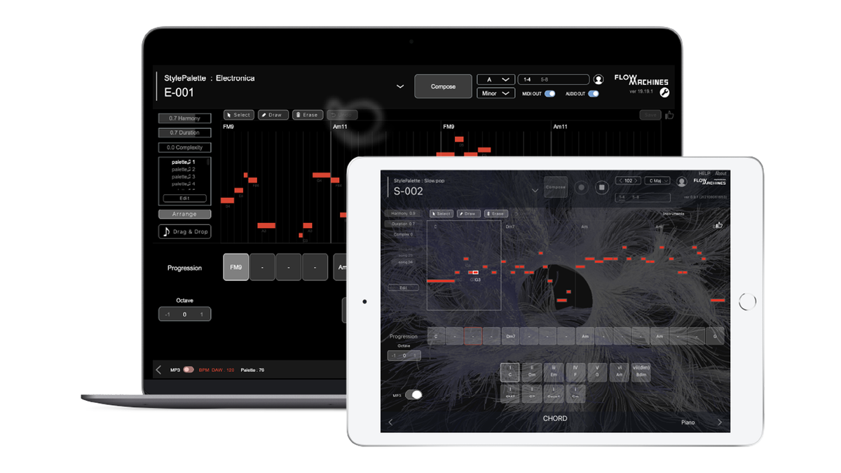 The Sony CSL Flow Machines app running on iPad and Mac.