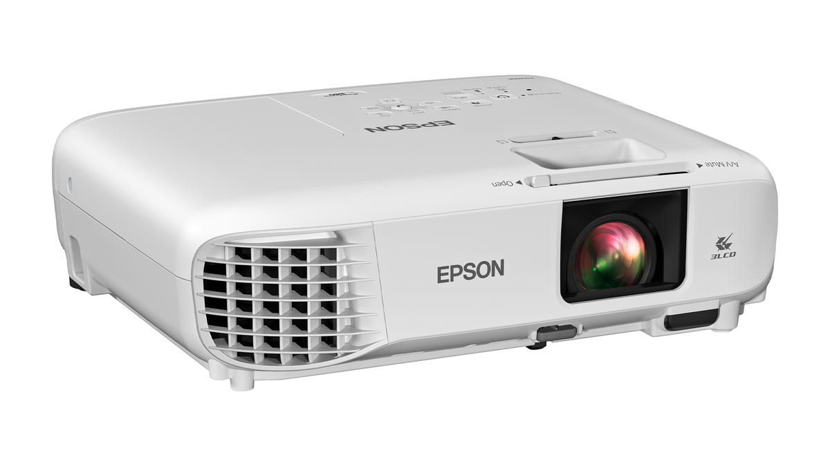 The Epson 880X 3LCD 1080p Smart Portable Projector on a white background