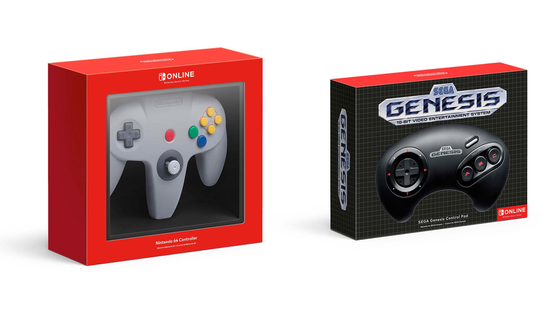 The Nintendo Switch wireless N64 and Sega Genesis controllers.