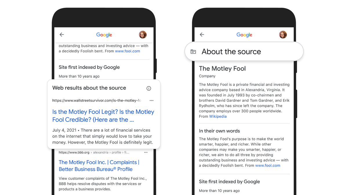 Google's About This Result feature explaining a Search result's source, when the source site was founded, and more.