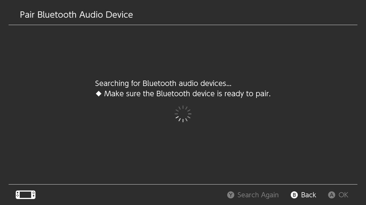 Nintendo Switch searching for Bluetooth audio devices.