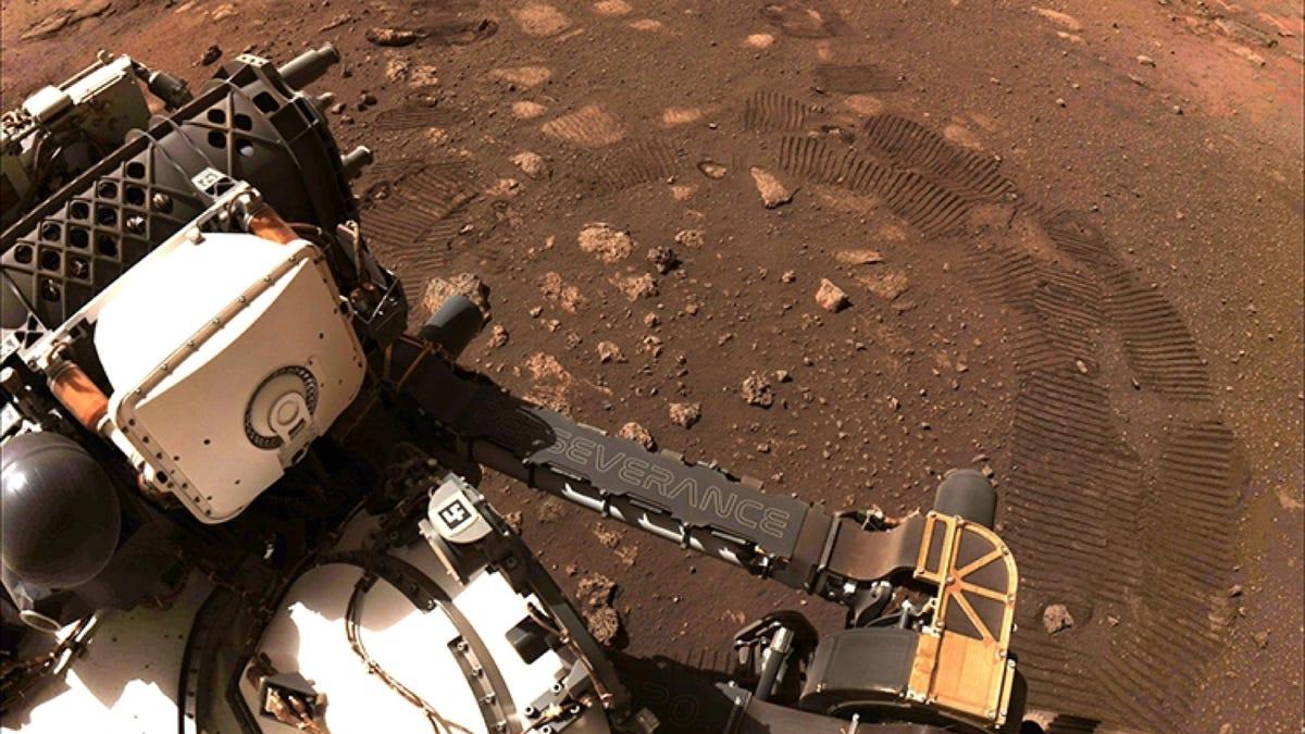 NASA Mars Rover dirt tracks