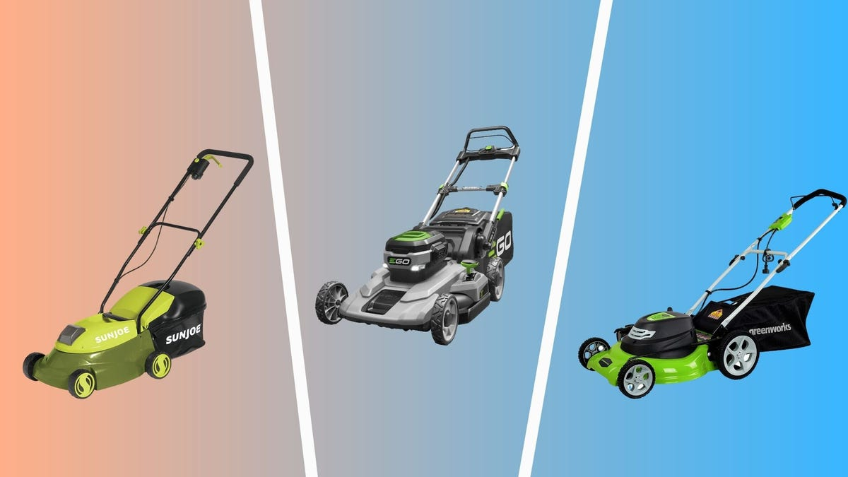best electric lawn mowers you can buy including sunjoe, ego power+, and greenworks mowers