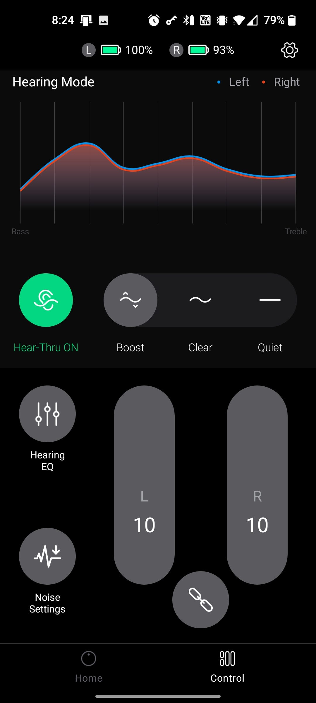 An app with a boost setting on.