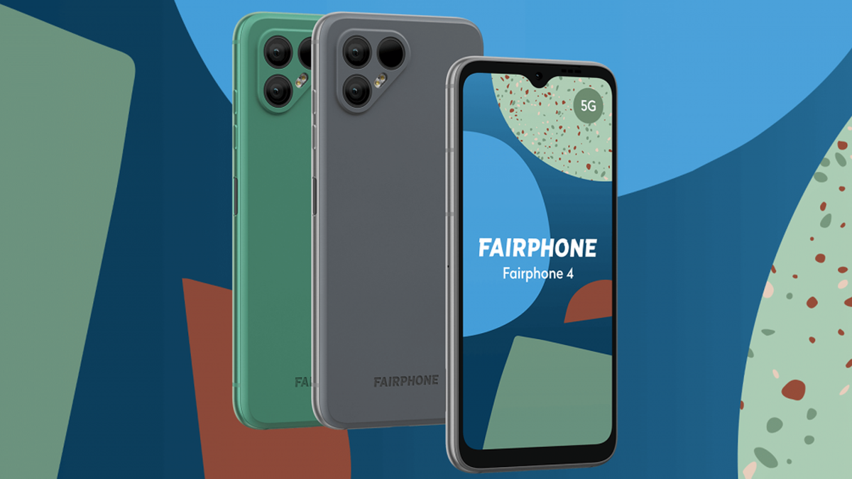 The Fairphone 4 on a blue and green background.
