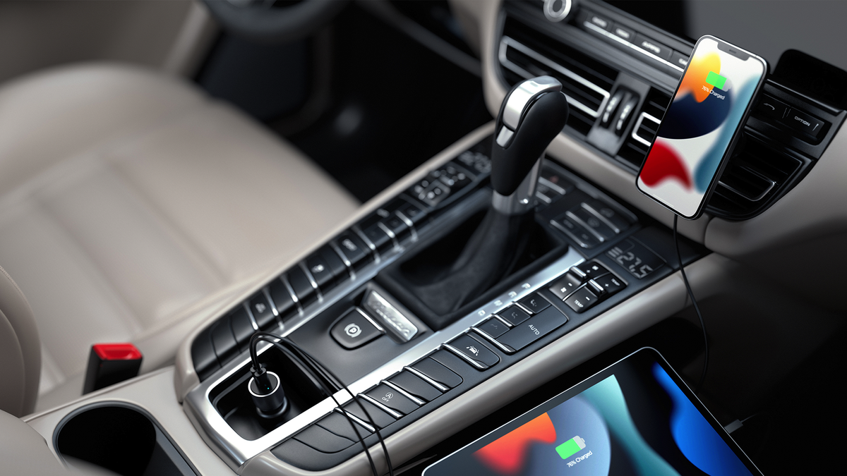 Satechi's magnetic car charger in action.