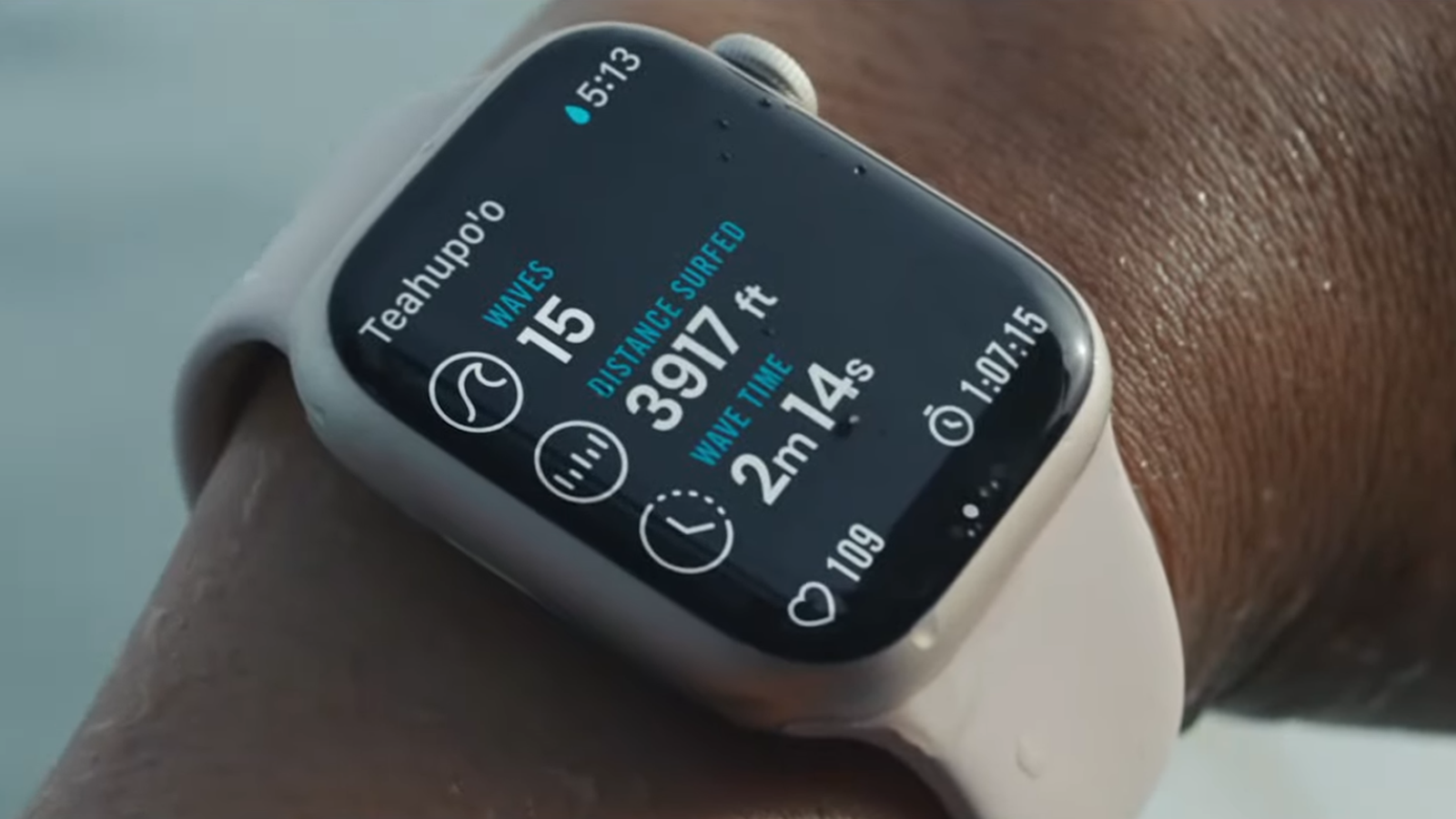 Apple Watch Series 7 on wrist just out of the pool