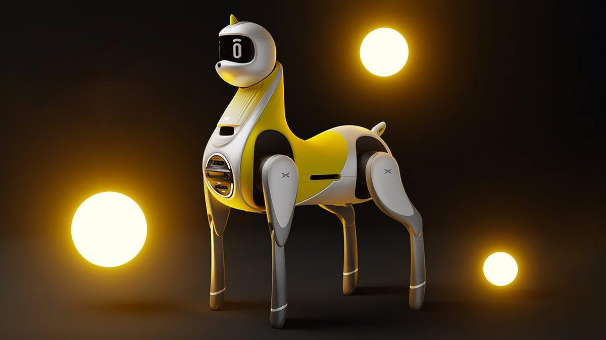 A toy-like robot unicorn
