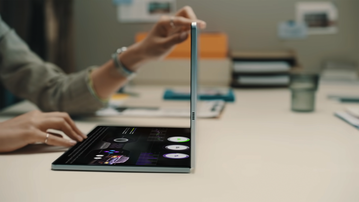 A photo of Samsung's concept foldable display laptop.