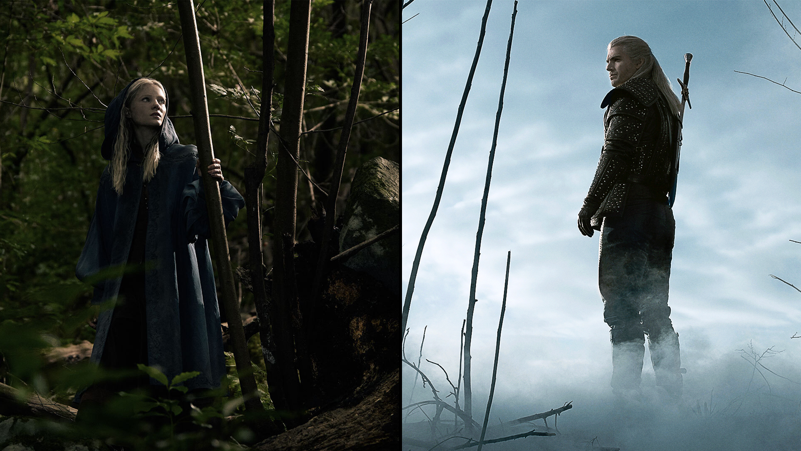 Two characters from the show in separate stills from it; one in a forest, the other in a misty area