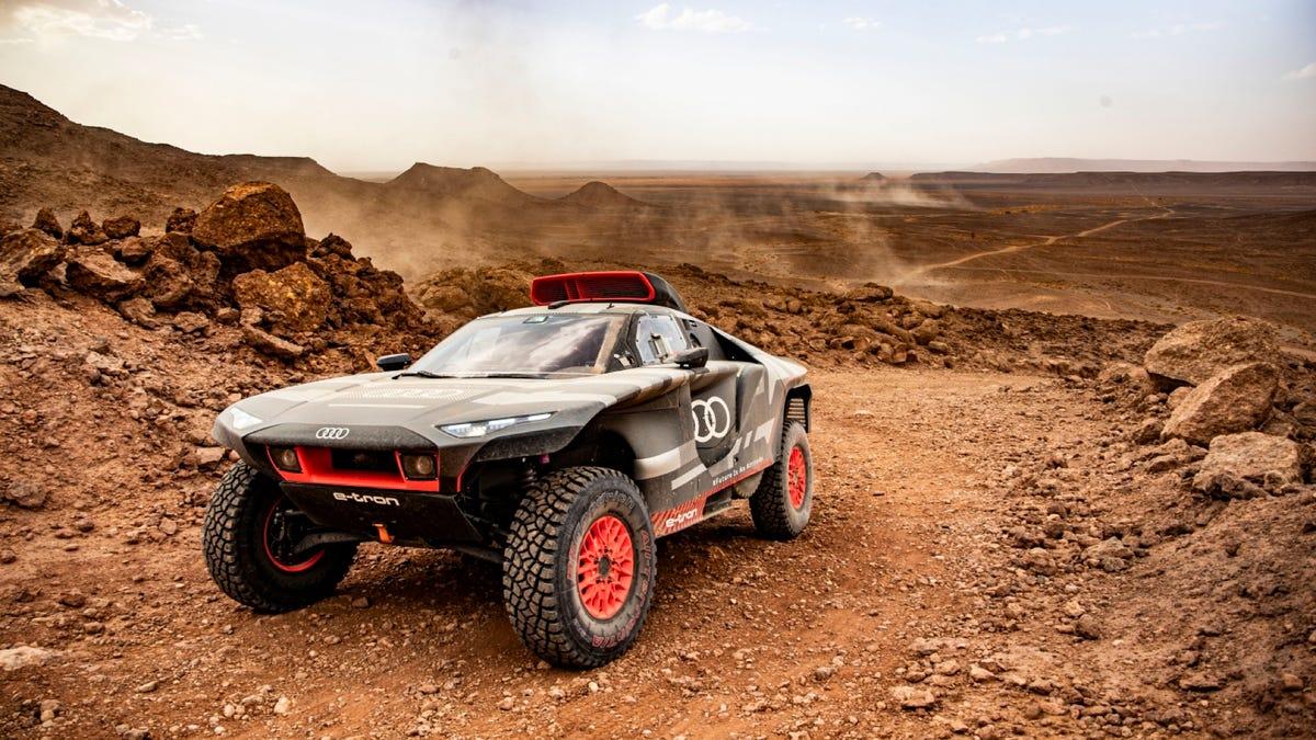 Audi RS Q E-Tron EV in the Morocco desert