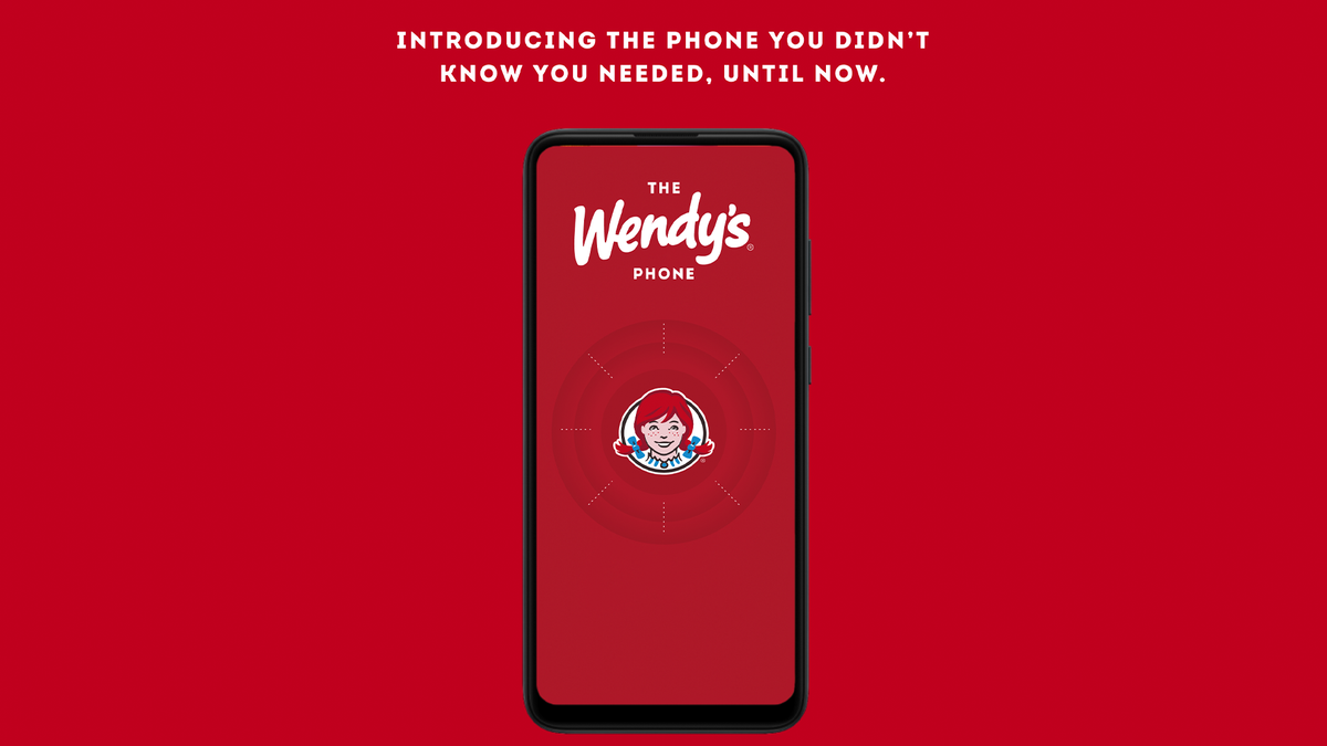 """The Wendy's phone with the text """"introducing the phone you didn't know you needed, until now."""""""