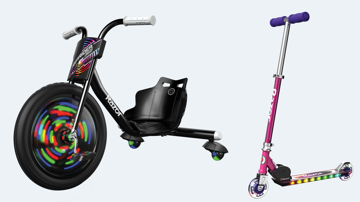 The RipRider 360 Lightshow bike and A+ Kick LIghtshow Scooter.