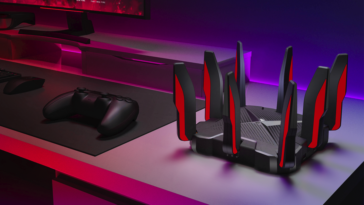 The TP-Link Archer AX6600 Tri-Band Wi-Fi 6 gaming router.