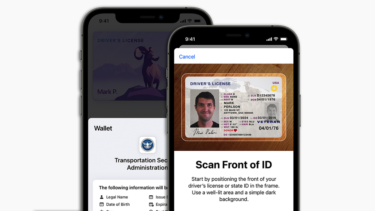 An iPhone prompting its owner to scan his driver's license.