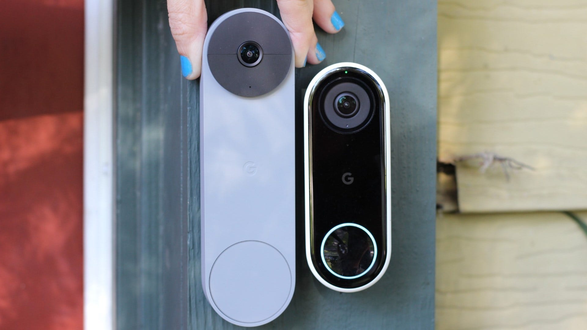Nest Doorbell (battery) next to Nest Doorbell (wired)
