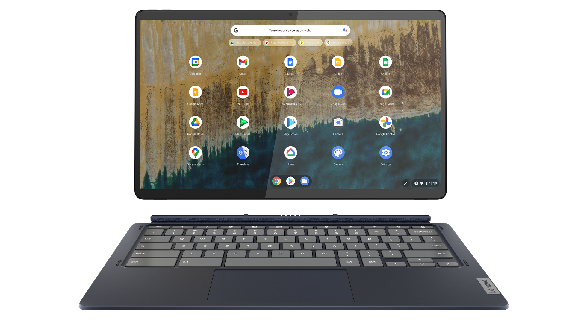 The Lenovo Chromebook Duet 5 with its detachable keyboard.