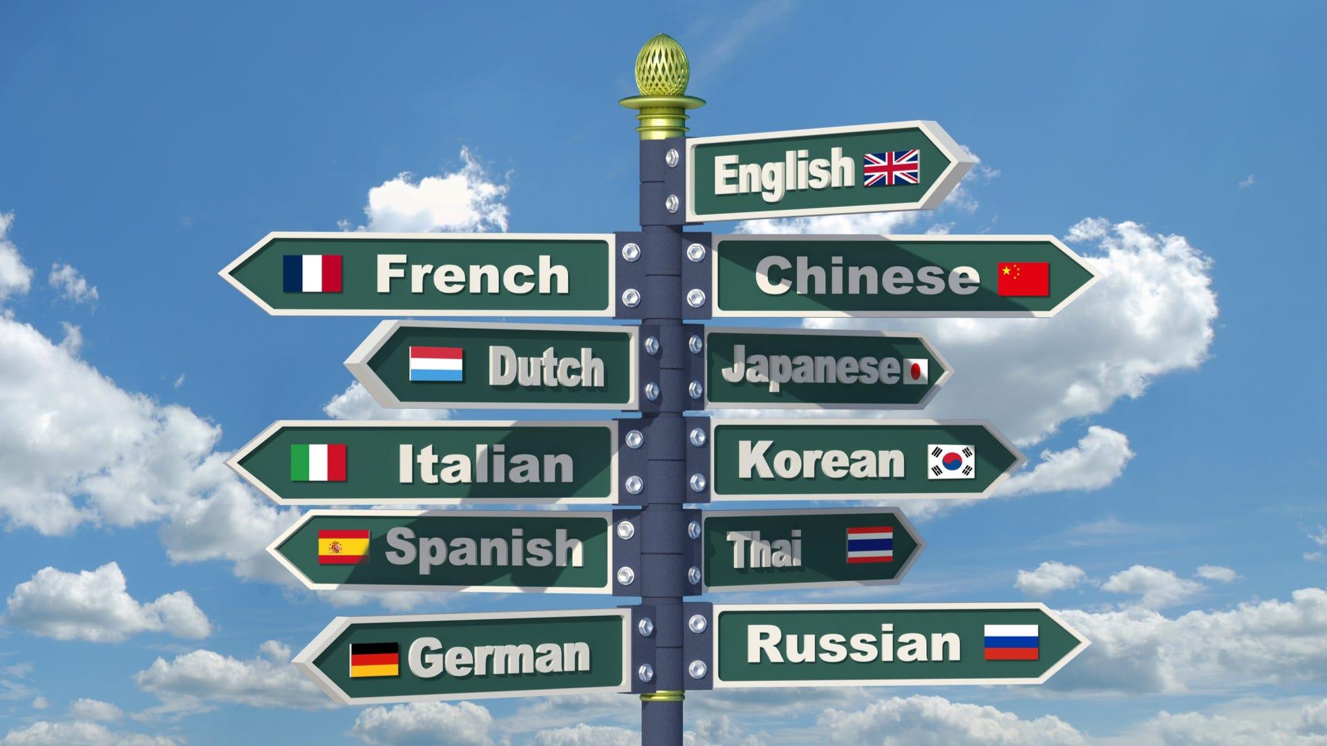 Road signs displaying various language names from English to Italian to Korean