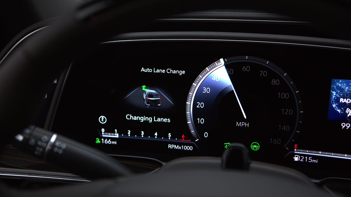 Cadillac's Super Cruise feature automatically performing a lane change.