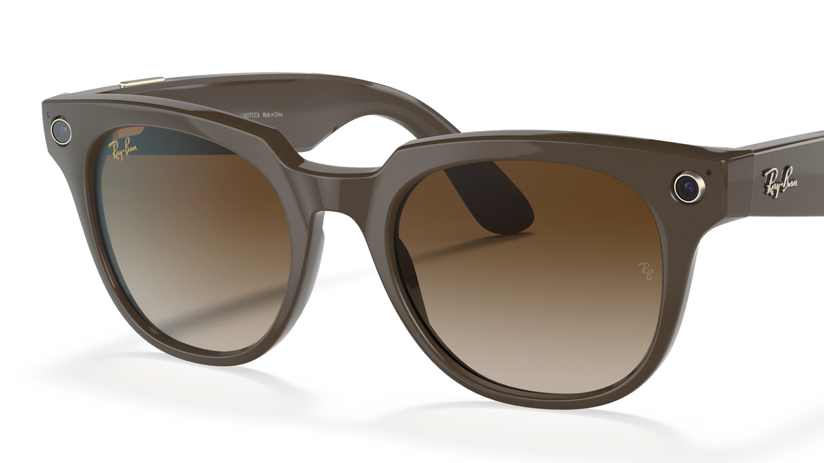 The Facebook Ray-Ban Stories smart glasses in the classic Meteor Ray-Ban frame style.