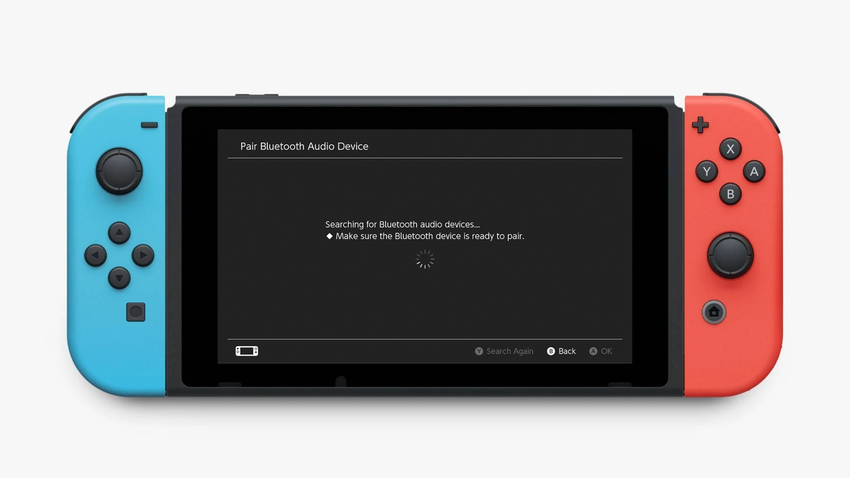 The Nintendo Switch searching for Bluetooth audio devices.