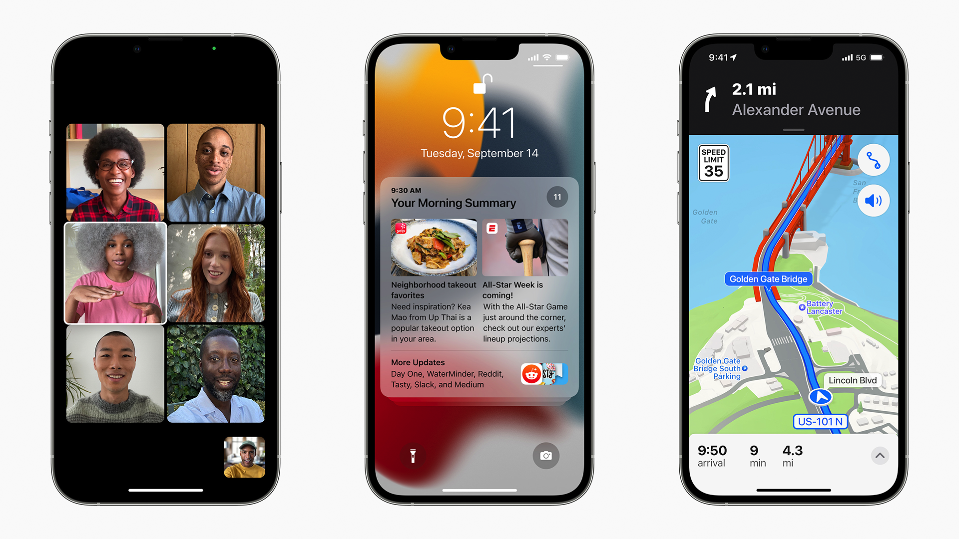 The iPhone 13 running Maps, recieving notifications, and running a FaceTime group call.