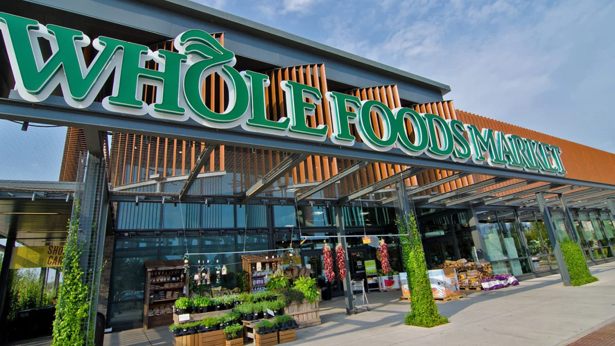 A photo of the outside of a Whole Foods Market.
