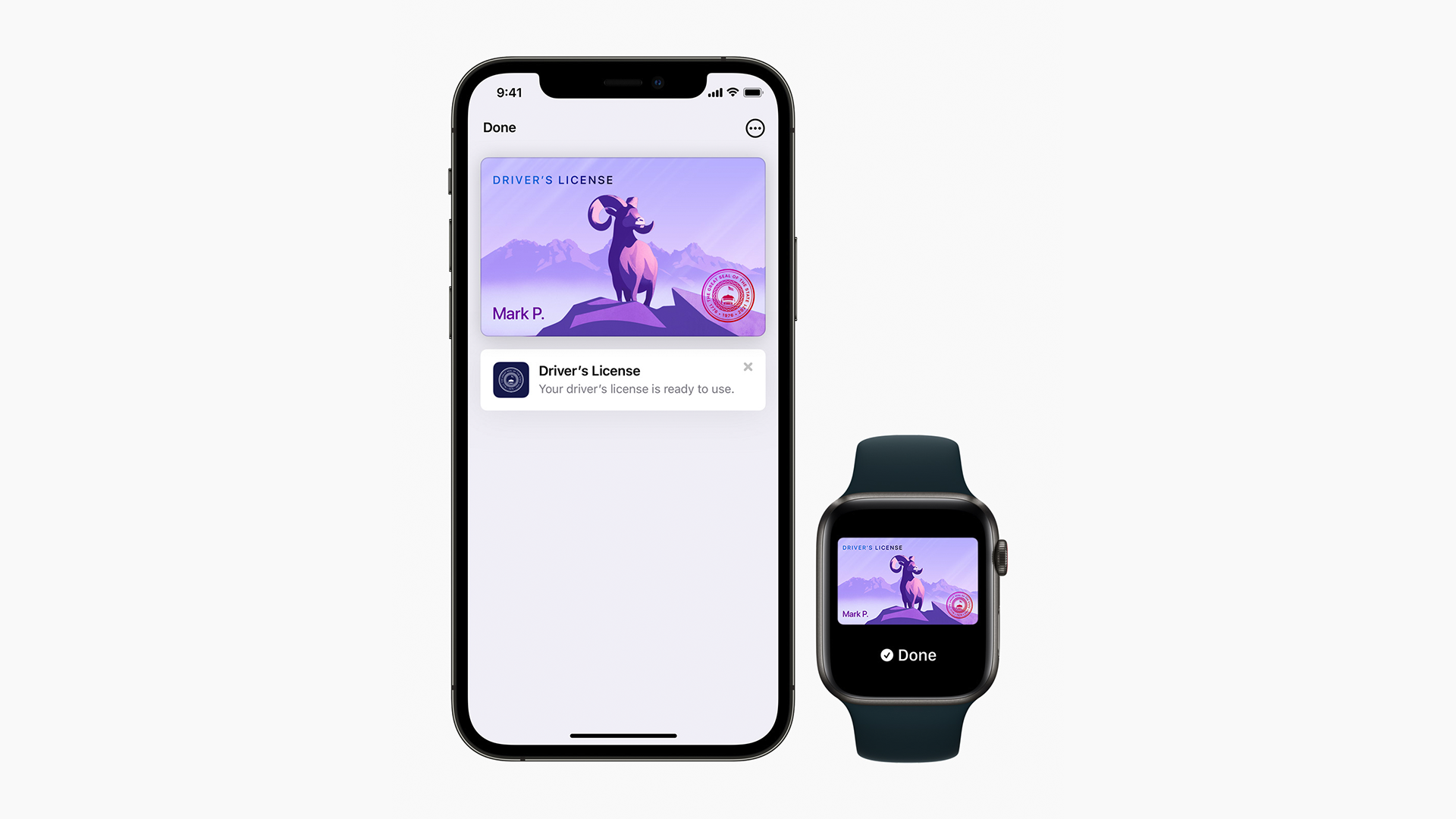 A driver's license on an iPhone and Apple Watch.